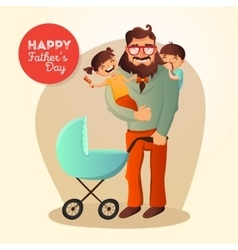 Father Day concept with happy vector image