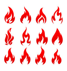 fire campfire torch flame isolated icons vector image
