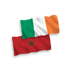 Flags ireland and morocco on a white background vector