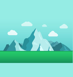 flat beautiful mountain landscape summer season vector image
