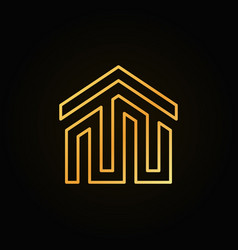 Golden house building icon or logo vector