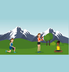 Group of athletes practicing sports on the park vector