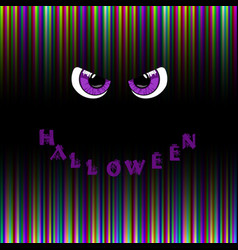 Halloween card violet predatory monster eyes and vector