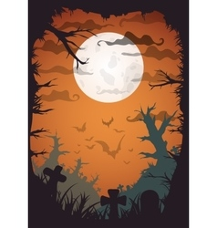 halloween yellow spooky a4 frame border with moon vector image