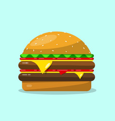 hamburger flat design food icon vector image