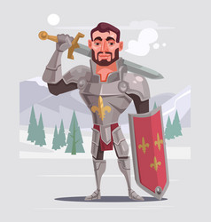 Handsome brave smiling knight character vector