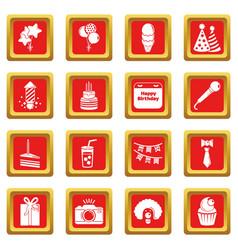 Happy birthday icons set red square vector