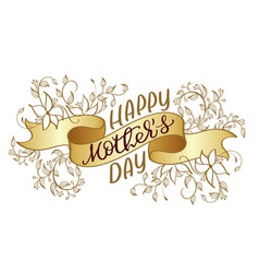 Happy mothers day vintage text on gold vector