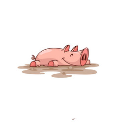 Happy pink pig lying in dirt farm animal vector