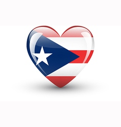 Heart-shaped icon with flag puerto rico vector