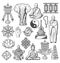 Hinduism and buddhism signs and icons isolated set vector