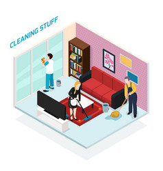 Home staff isometric design concept vector