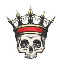 Human skull in crown drawn in engraving style vector