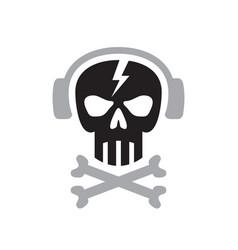 Human skull with headphones sign - logo vector