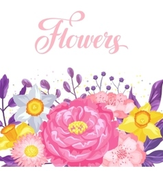 Invitation card with decorative delicate flowers vector image