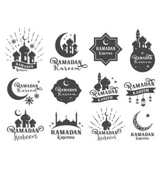 islamic sticker badge vector image