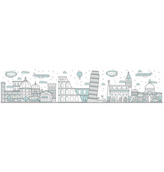 italy skyline line cityscape vector image