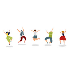 jumping people energetic excited guy jump friends vector image