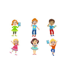 kids with gadgets set cute smiling boys and girls vector image