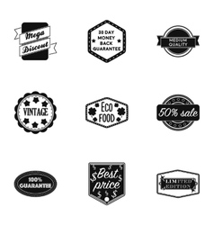 Label set icons in black style Big collection of vector image
