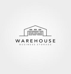 line art warehouse logo minimalist symbol design vector image