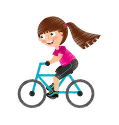 Little girl riding bicycle vector