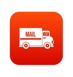 mail truck icon digital red vector image