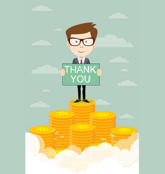 Man proudly standing with thanks on the huge money vector