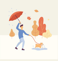 man walking the dog in the autumn park in rainy vector image
