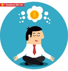 Manager meditating on money and success vector
