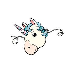 mask cute unicorn vector image vector image