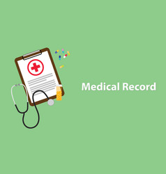 medical record with paperwork on clip vector image