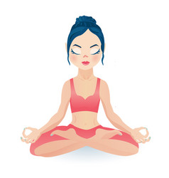Meditating yoga girl sitting in lotus pose vector