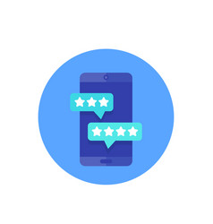 mobile reviews icon vector image