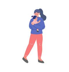 Mother holding her toddler girl on her hands vector