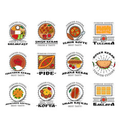 National turkish cuisine dish icons vector
