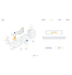 news concept - line design style isometric web vector image