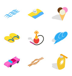 ocean vacation icons set isometric style vector image