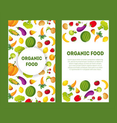 organic food banners set with place for text farm vector image