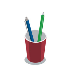 Pen and pencil in plastic cup isometric 3d icon vector