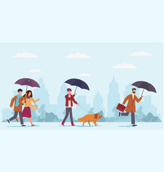 people autumn rain women and men vector image