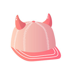 Pink creative baseball cap with horns on top on vector
