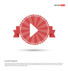 play button icon - red ribbon banner vector image