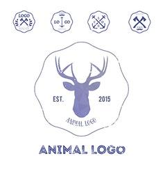 Polygonal hipster logo with head of deer in violet vector