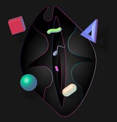 pop art love neon and shadow vector image