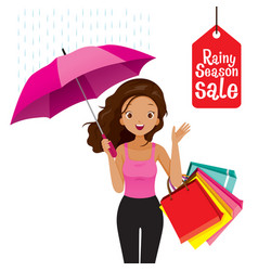 rainy season sale dark skin woman under umbrella vector image