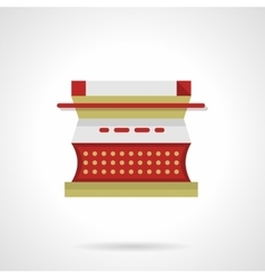 Red type writer flat color icon vector