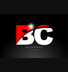 Red white color letter combination bc b c vector
