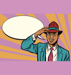 retro african businessman takes off his hat vector image