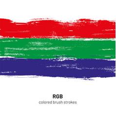 Rgb colored brush strokes vector